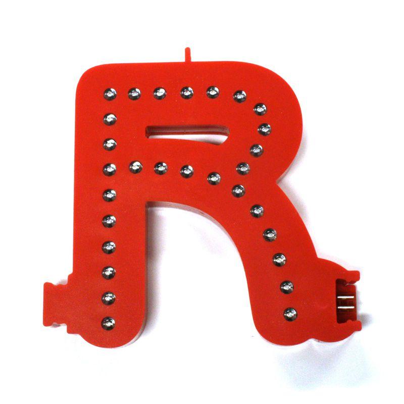 Modulární světelné LED písmeno abecedy - R
