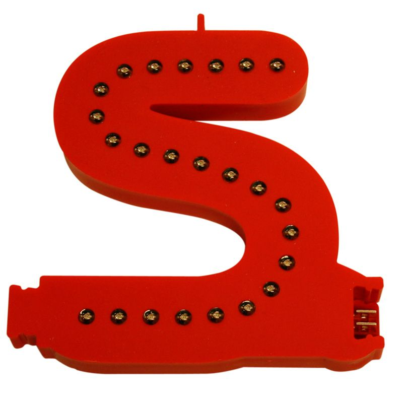 Modulární světelné LED písmeno abecedy - S