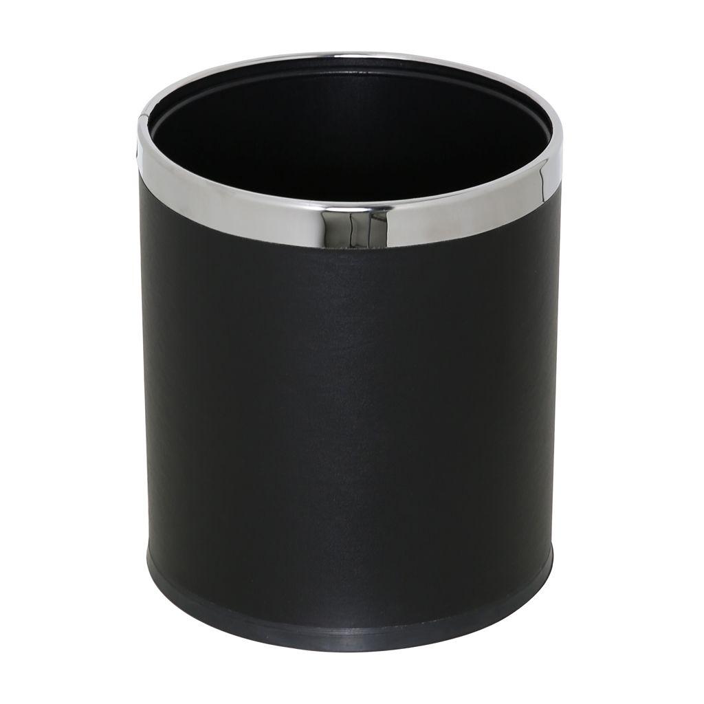 Kovový koš na odpadky otevřený dvojstěnný, Černý