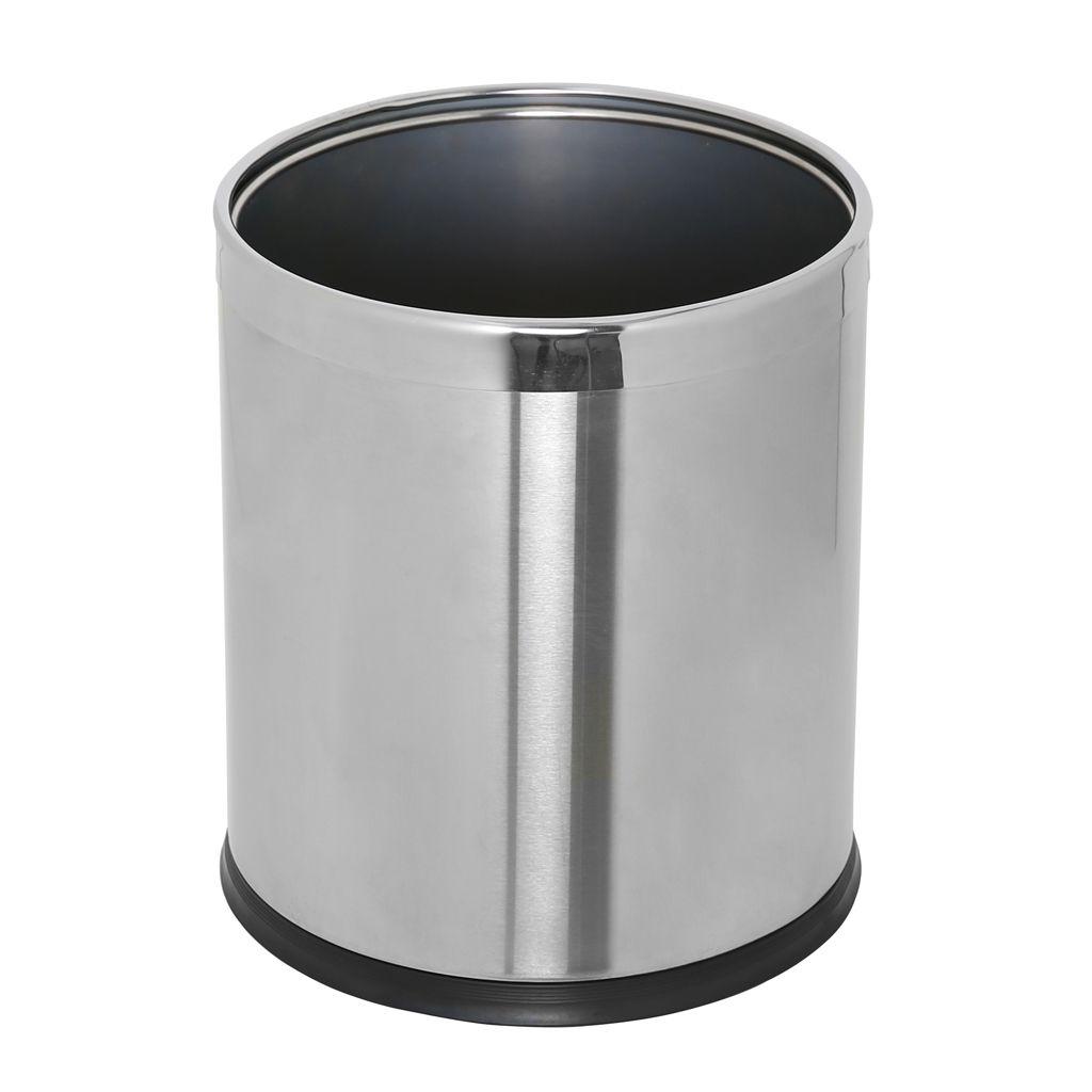 Kovový koš na odpadky otevřený dvojstěnný, Nerez