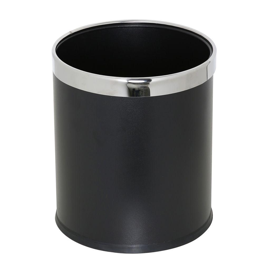 Kovový koš na odpadky otevřený jednostěnný, Černý