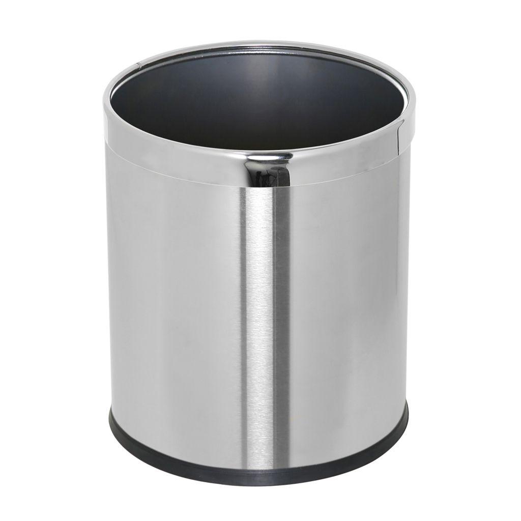 Kovový koš na odpadky otevřený jednostěnný, Nerez