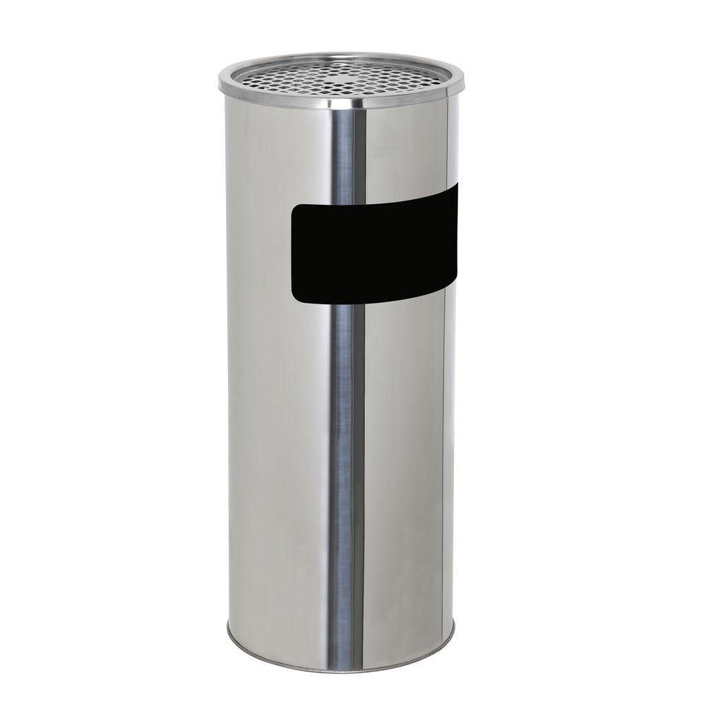 Kovový odpadkový koš s popelníkem 18+2 l - Nerez