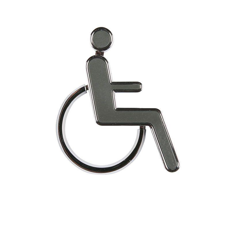 3D Chrom/šedá značení toalet - WC pro invalidy