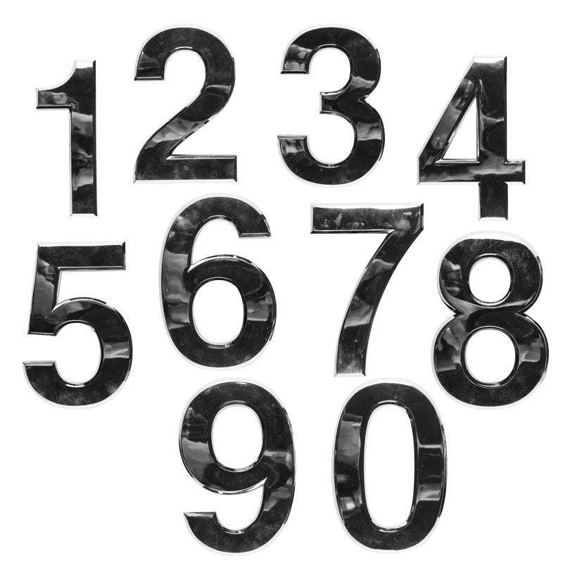 3D Chromované číslice - kompletní sada čísel 0-9