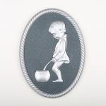 3D Dekor WC Muži - Stříbrná