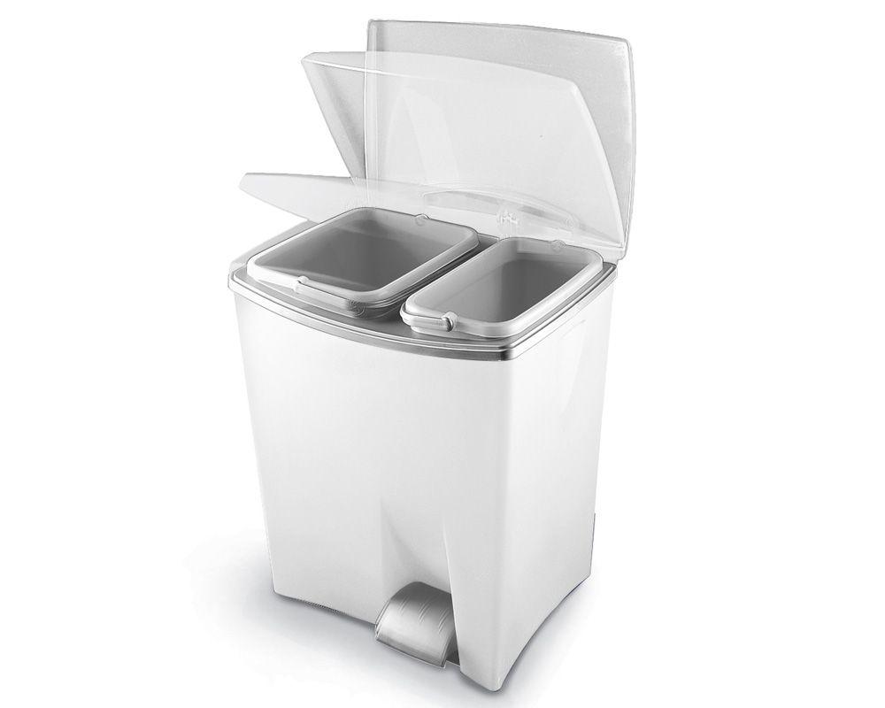 Pedálový odpadkový koš Duetto - Bílý, 20+10 litrů