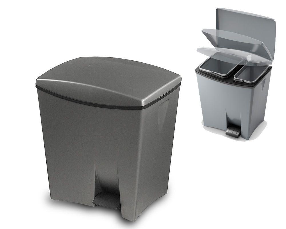 Pedálový odpadkový koš Duetto - Šedý, 20+10 litrů