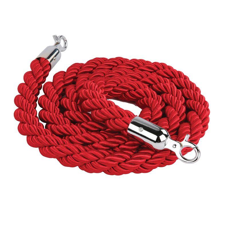 Červené lano na barierový sloupek - chrom 2 m