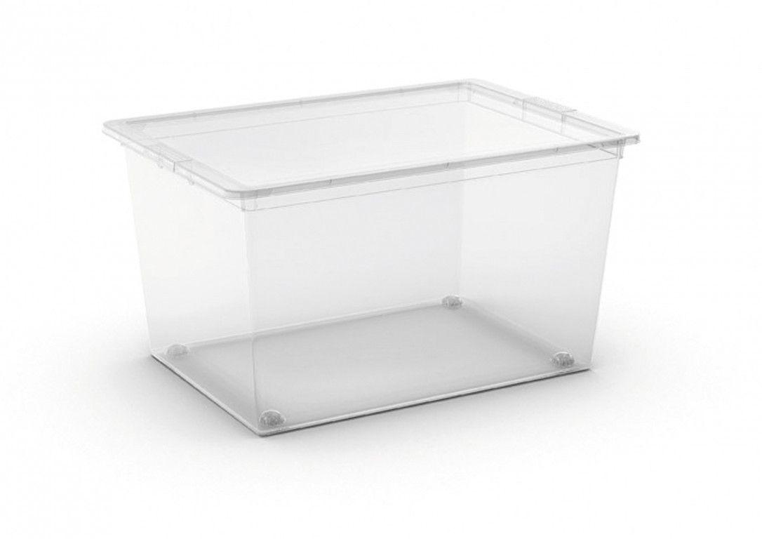KIS Plastový úložný box C-Box Transparent XL s kolečky, 50 L