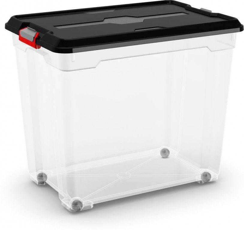 KIS Plastový úložný box - Moover Box XXL, černý s kolečky, 70 L