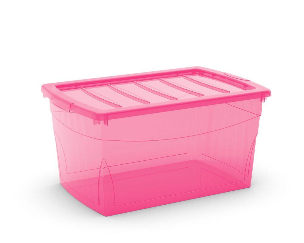 KIS Plastový úložný box Omnibox L Růžový 49,5 L
