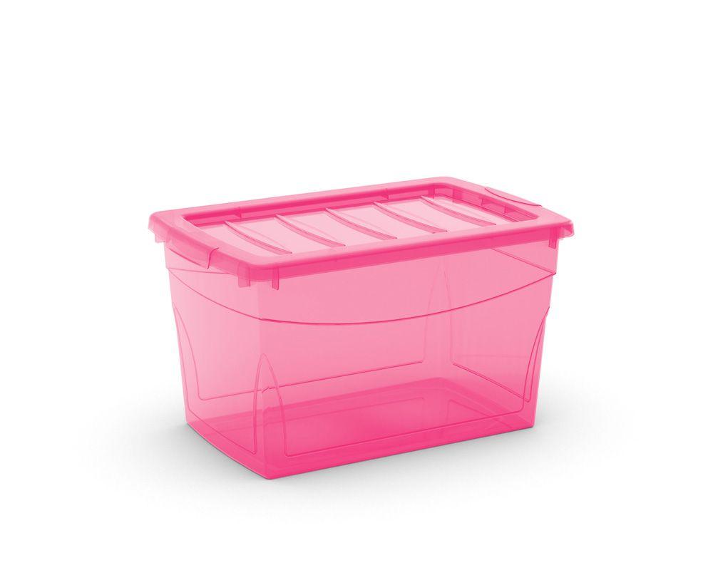 KIS Plastový úložný box Omnibox M Růžový 30 L