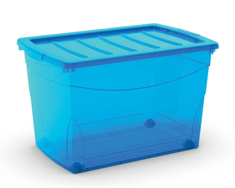KIS Plastový úložný box Omnibox XL Modrý 60 L s kolečky