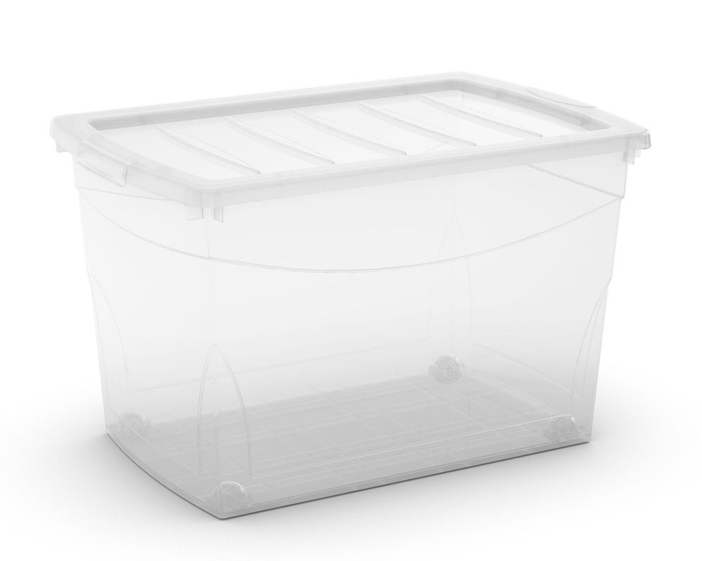 KIS Plastový úložný box Omnibox XL Průhledný 60 L s kolečky