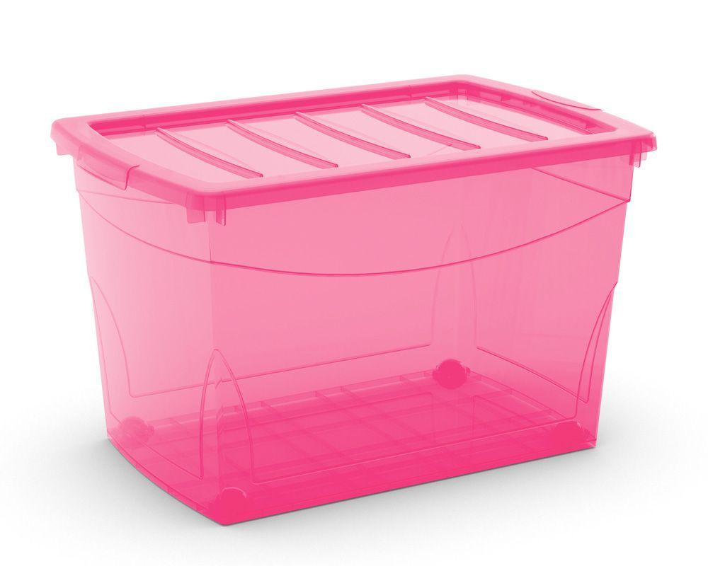 KIS Plastový úložný box Omnibox XL Růžový 60 L s kolečky