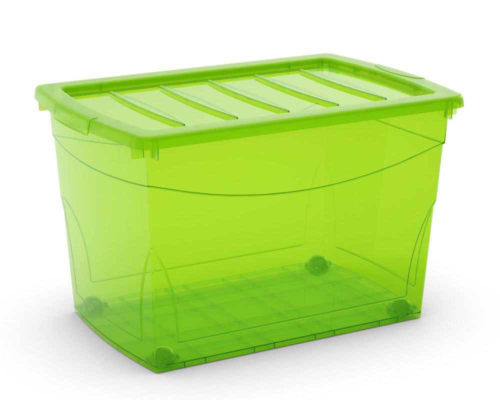 KIS Plastový úložný box Omnibox XL Zelený 60 L s kolečky