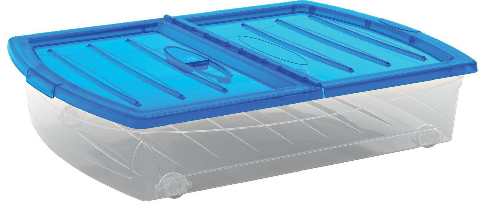 KIS Plastový úložný Spinning Box XL průhledný, Modré víko, 56 L