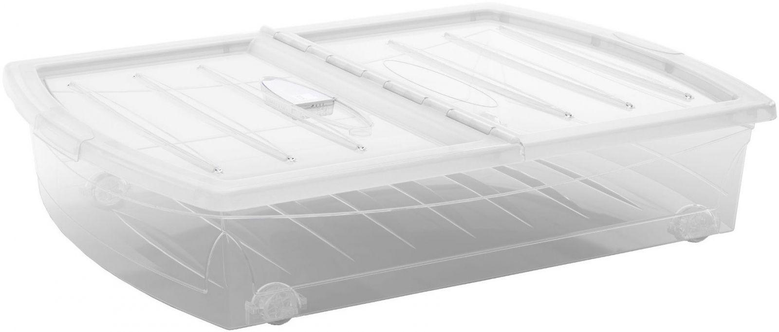 KIS Plastový úložný Spinning Box XL průhledný, Průhledné víko, 56 L