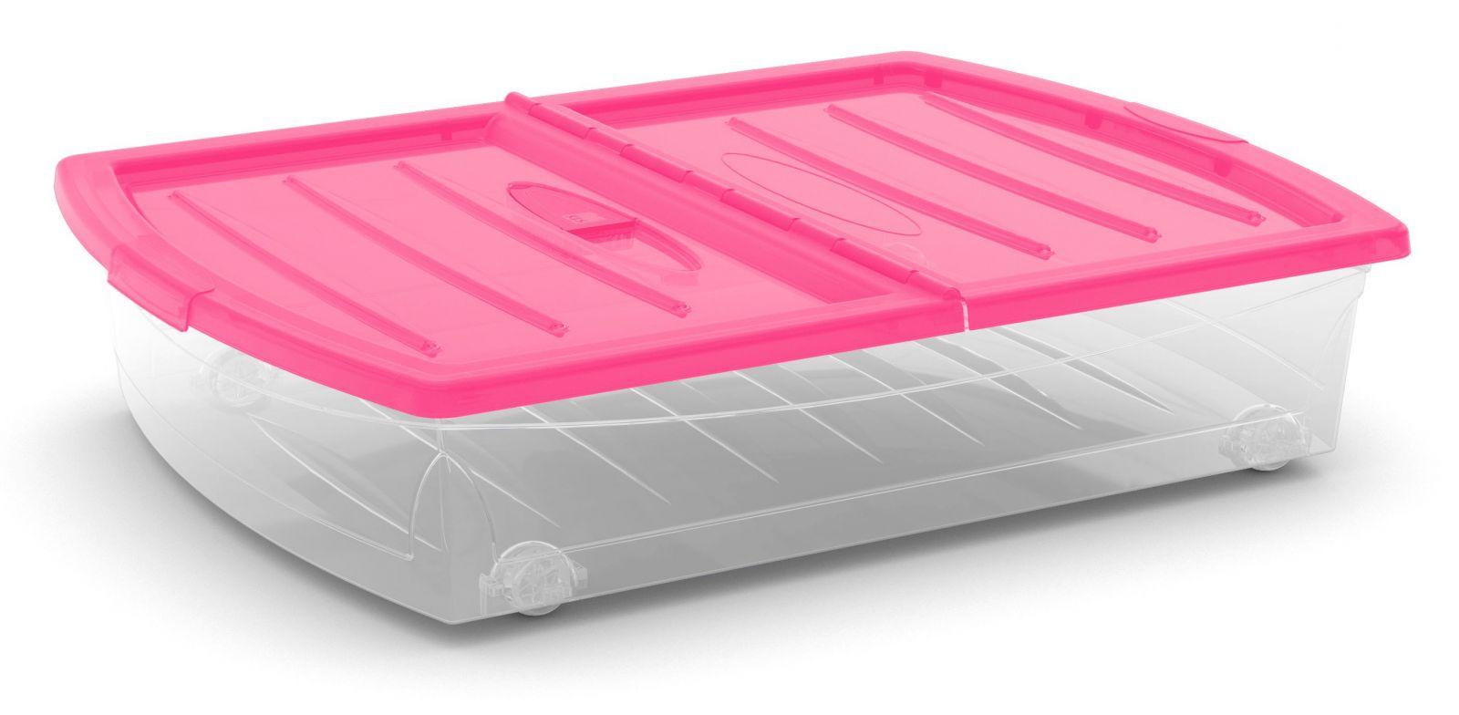KIS Plastový úložný Spinning Box XL průhledný, Růžové víko, 56 L