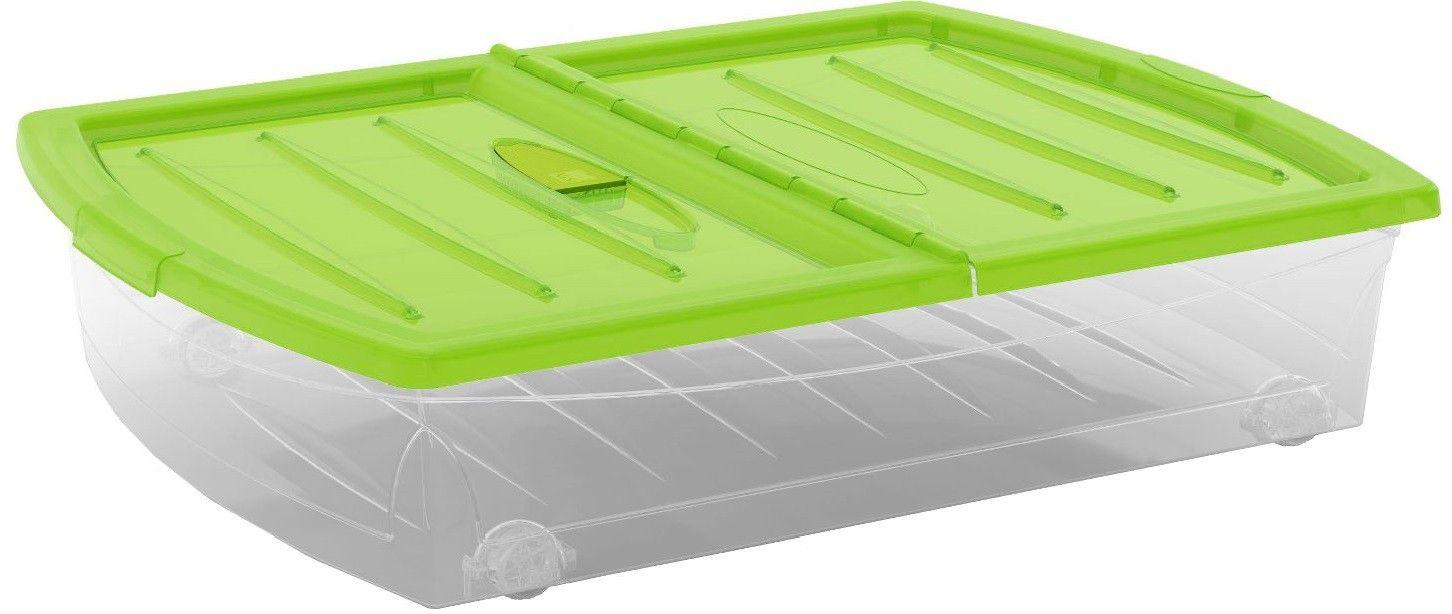 KIS Plastový úložný Spinning Box XL průhledný, Zelené víko, 56 L