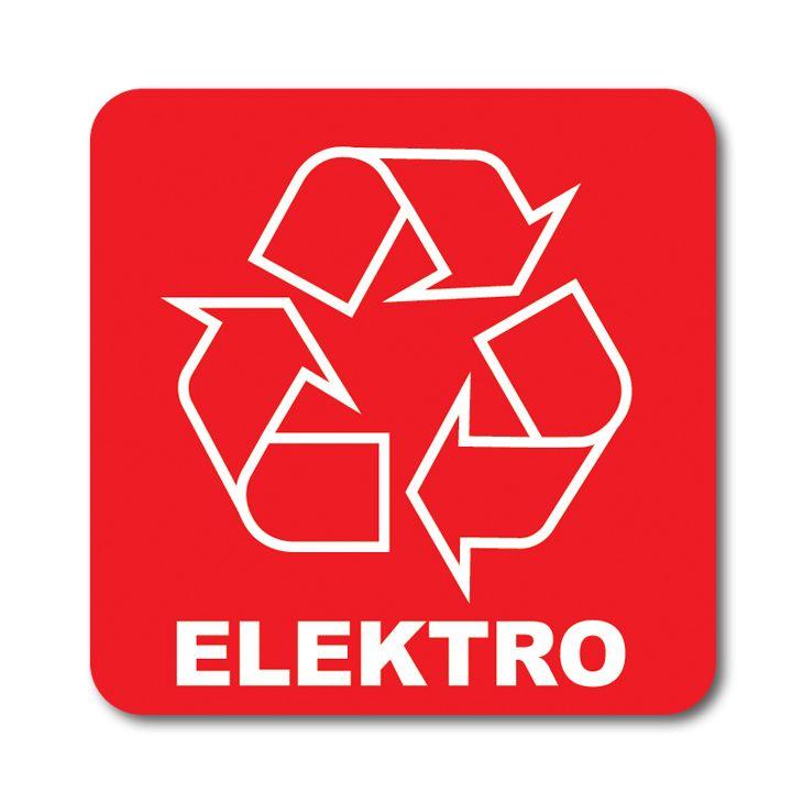Barevná samolepka tříděný odpad 12x12 cm Elektro