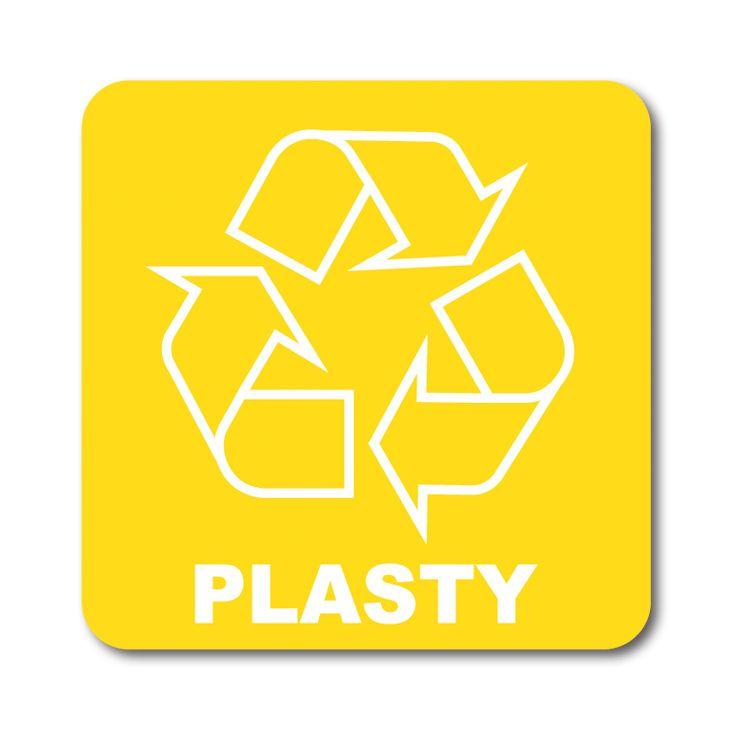 Barevná samolepka tříděný odpad 12x12 cm Plasty