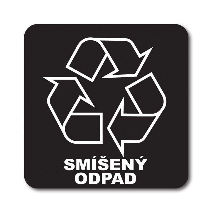 Barevná samolepka tříděný odpad 12x12 cm Smíšený odpad