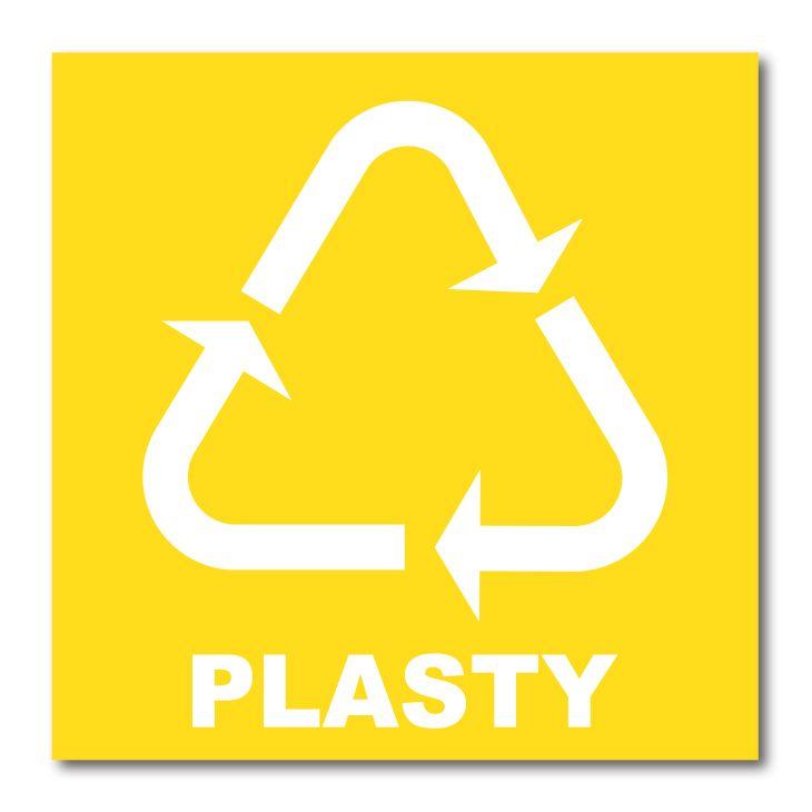 Barevná samolepka tříděný odpad 15x15 cm Plasty