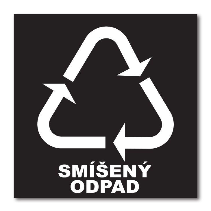 Barevná samolepka tříděný odpad 15x15 cm Smíšený odpad