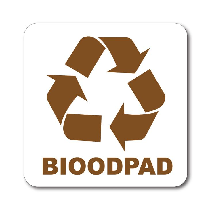 Bílá samolepka tříděný odpad 12x12 cm Bioodpad