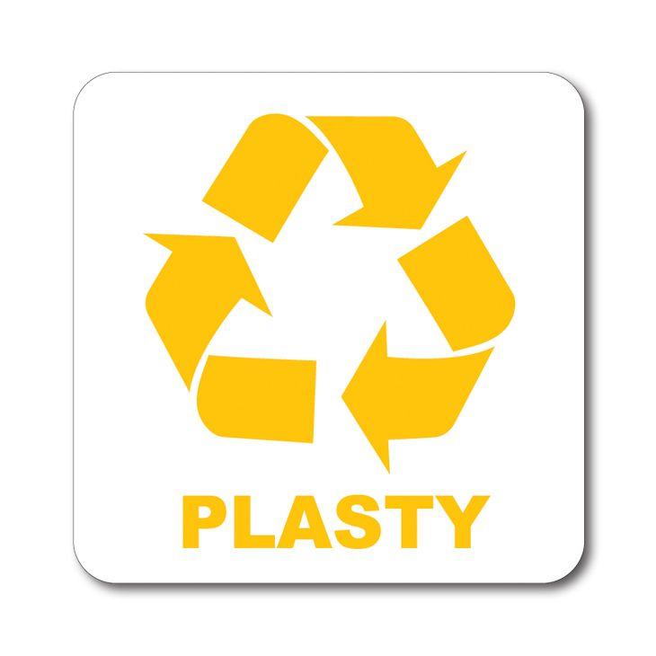 Bílá samolepka tříděný odpad 12x12 cm Plasty