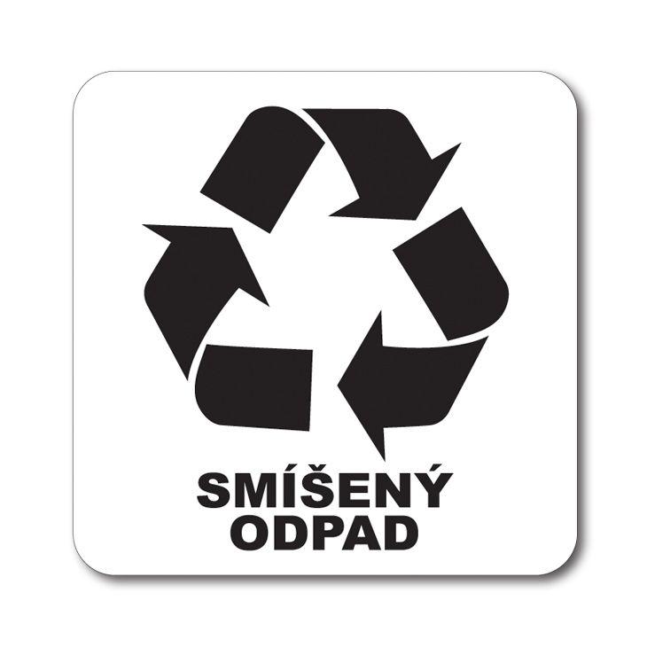 Bílá samolepka tříděný odpad 12x12 cm Smíšený odpad