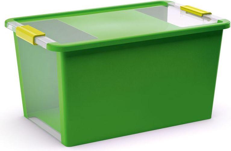 KIS Plastový úložný box s průhledy - Bi Box L - Zelený 40 L