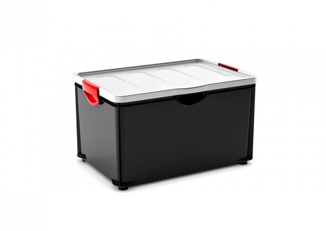 KIS Úložný box - Clipper Box XL černý-šedé víko, 58,4l