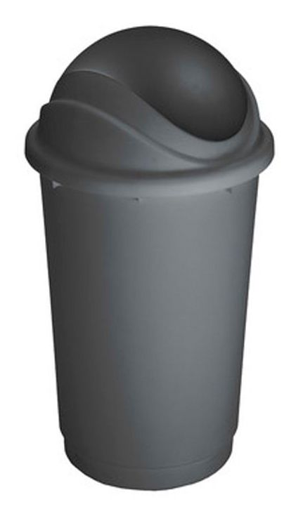 Koš na odpadky s výklopným víkem - Pivot - šedý, 60 litrů