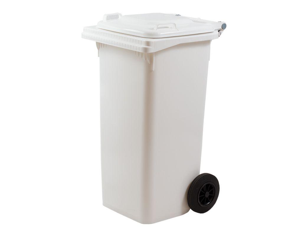 Plastová popelnice s kolečky, Objem 120 litrů - Bílá