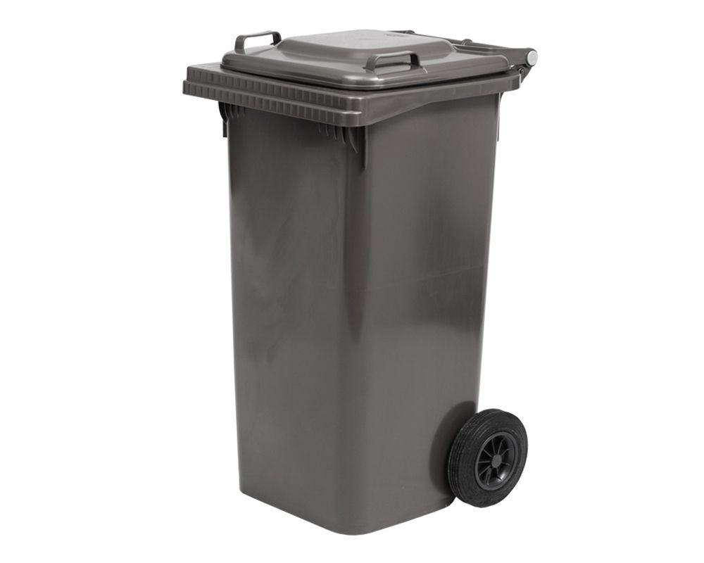 Plastová popelnice s kolečky, Objem 120 litrů - Černá