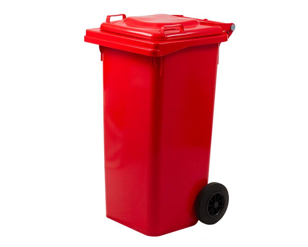 Plastová popelnice s kolečky, Objem 120 litrů - Červená