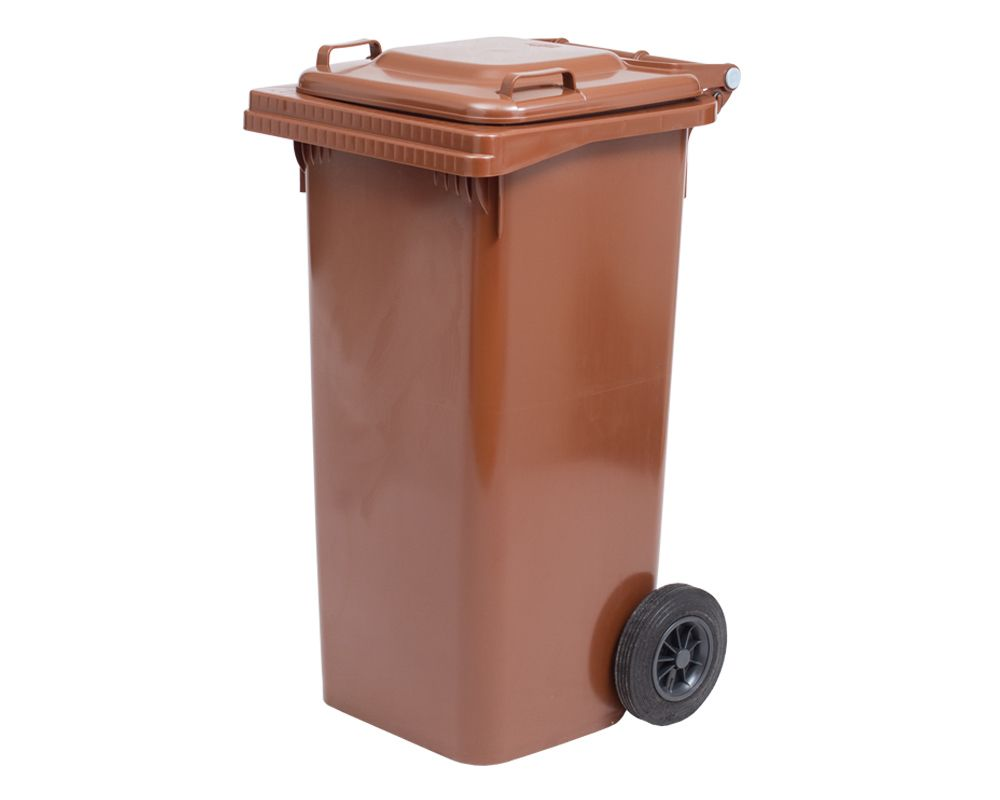 Plastová popelnice s kolečky, Objem 120 litrů - Hnědá