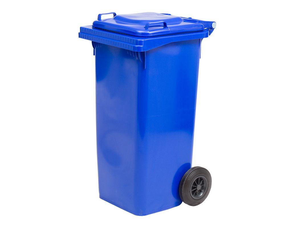Plastová popelnice s kolečky, Objem 120 litrů - Modrá