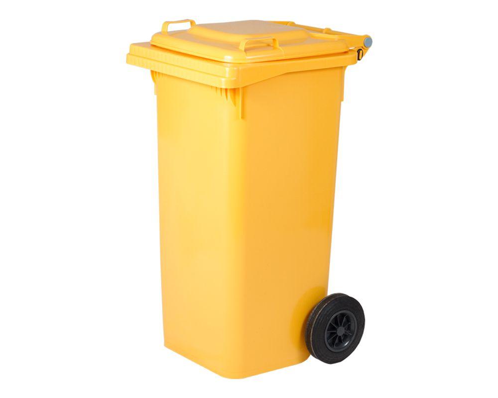 Plastová popelnice s kolečky, Objem 120 litrů - Žlutá