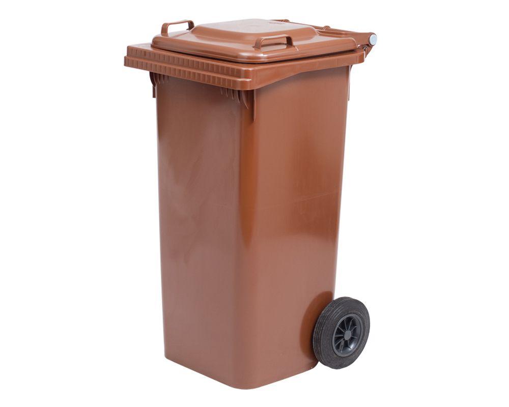 Plastová popelnice s kolečky, Objem 240 litrů - Hnědá