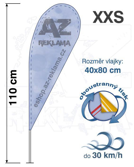 Muší křídlo tvar Kapka, do 30km/h, výška 110cm - XXS oboustranný tisk - SET bez stojanu A-Z Reklama CZ