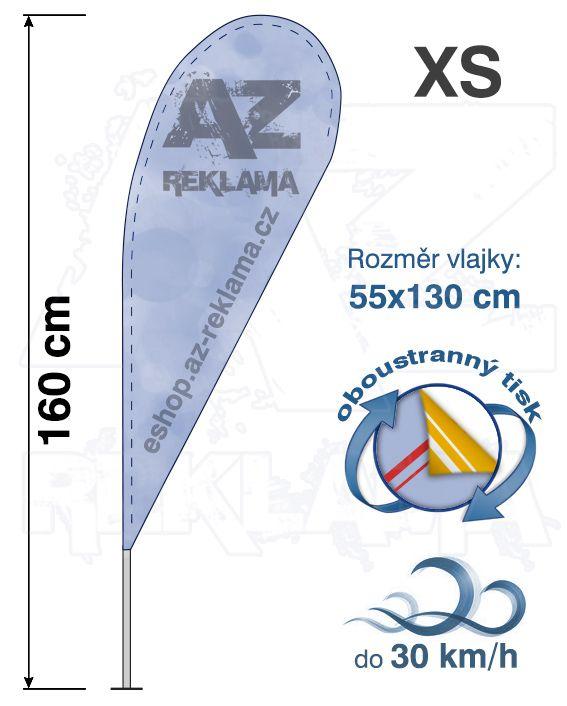 Muší křídlo tvar Kapka, do 30km/h, výška 160cm - XS oboustranný tisk - SET bez stojanu A-Z Reklama CZ