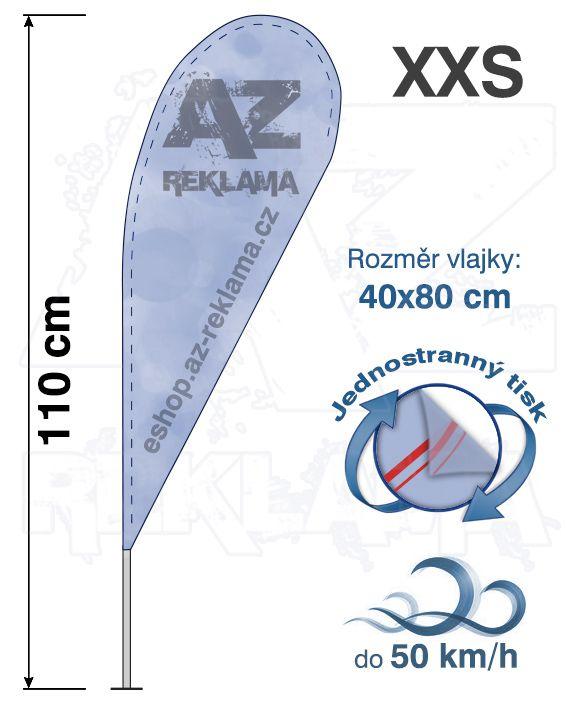 Muší křídlo tvar Kapka, do 50km/h, výška 110cm - XXS jednostranný tisk - SET bez stojanu A-Z Reklama CZ