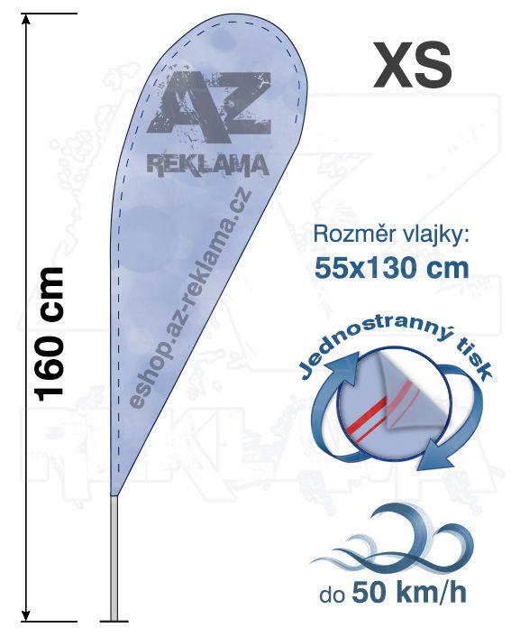 Muší křídlo tvar Kapka, do 50km/h, výška 160cm - XS jednostranný tisk - SET bez stojanu A-Z Reklama CZ