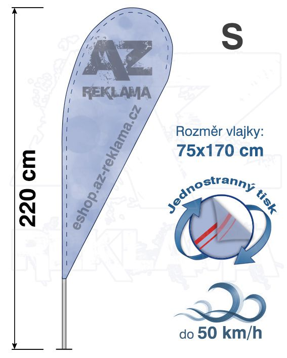 Muší křídlo tvar Kapka, do 50km/h, výška 220cm - S jednostranný tisk - SET bez stojanu A-Z Reklama CZ