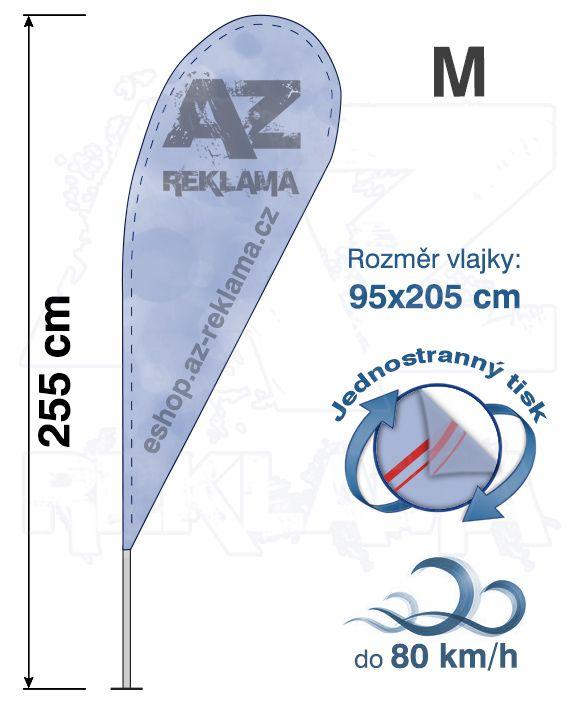 Muší křídlo tvar Kapka, do 80km/h, výška 255cm - M jednostranný tisk - SET bez stojanu A-Z Reklama CZ