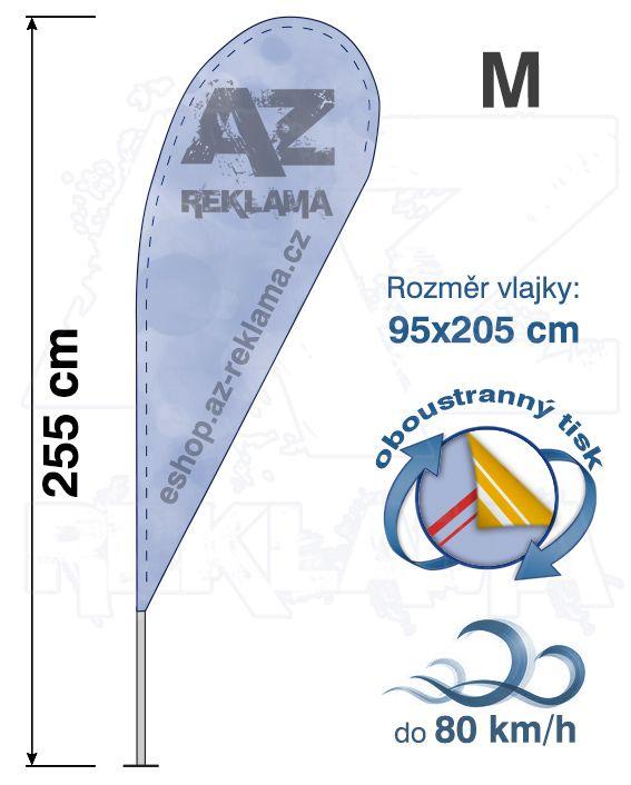 Muší křídlo tvar Kapka, do 80km/h, výška 255cm - M oboustranný tisk - SET bez stojanu A-Z Reklama CZ